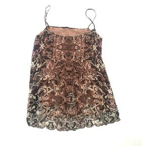 🍓 Elie Tahari brown silk sequins top SP